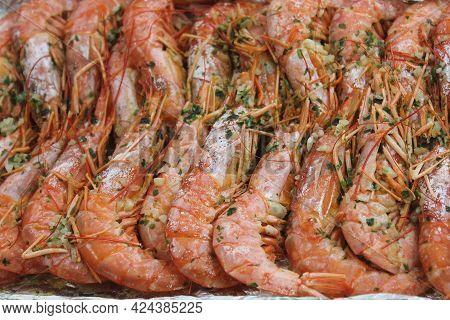 Delicious Grilled Prawns Hot Grilled Seafood Prawns