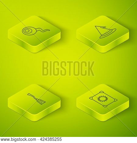 Set Isometric Line Witch Hat, Witches Broom, Ancient Magic Book And Eye Icon. Vector