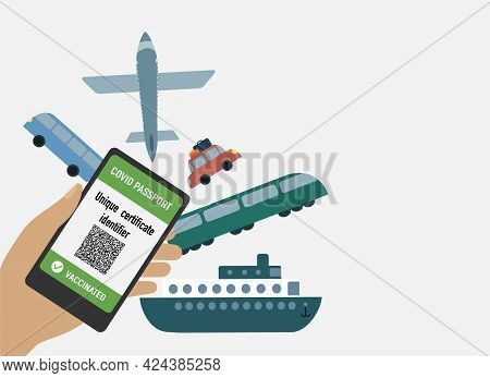 Hand With Mobile Phone With Digital Health Passport For Covid-19 And Different Types Of Transport. V