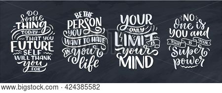 Set With Lettering Slogans About Be Yourself. Funny Quotes For Blog, Poster And Print Design. Modern