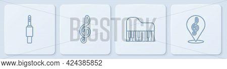Set Line Audio Jack, Grand Piano, Treble Clef And . White Square Button. Vector