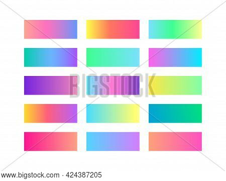 Pastel Trendy Smooth Gradient Color Set. Collection Of Colorful Gradient Swatches Palette. Vector Sh
