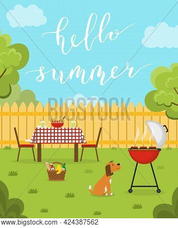 Hello Summer. Summer Day Concept Vertical Banner. Lunch In The Backyard. Barbecue In The Garden. Out
