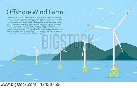 Wind Turbines In The Sea With Mountains On Background. Wind Towers In The Ocean. Offshore Wind Farm