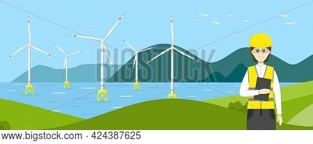 Wind Turbines In The Sea And A Woman Engineer. Wind Towers In The Ocean And A Worker. Offshore Wind
