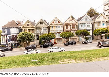 San Francisco, California - July 24, 2018: Beautiful View Of Painted Ladies, Colorful Victorian Hous