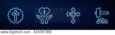 Set Line Christian Cross, , Religious In Heart And Crucifixion Of Jesus. Glowing Neon Icon On Brick