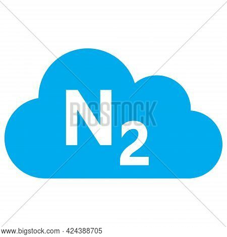 Nitrogen Gas Icon With Flat Style. Isolated Vector Nitrogen Gas Icon Image, Simple Style.