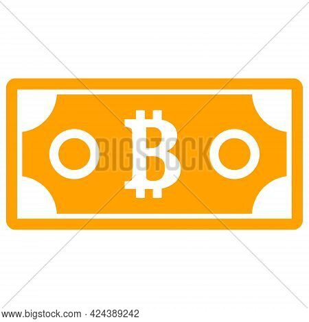 Bitcoin Bill Icon With Flat Style. Isolated Vector Bitcoin Bill Icon Illustrations, Simple Style.
