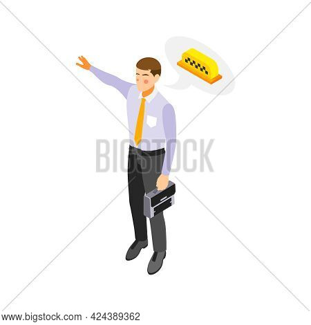 Man In Office Wear With Briefcase Hailing Taxi Isometric Icon Vector Illustration