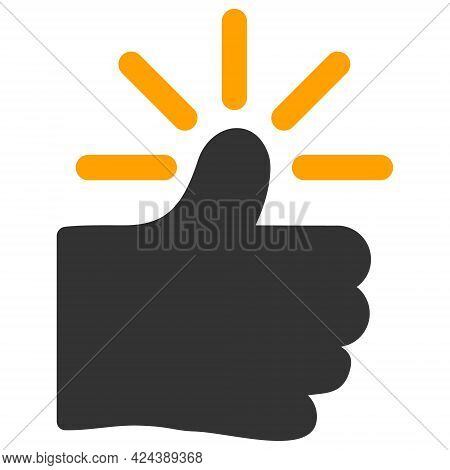 Shining Thumb Icon With Flat Style. Isolated Vector Shining Thumb Icon Image, Simple Style.