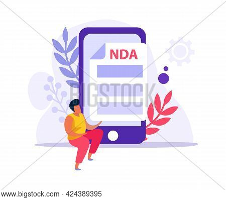 Flat Employment Document Icon With Nda Agreement Smartphone And Human Character Vector Illustration
