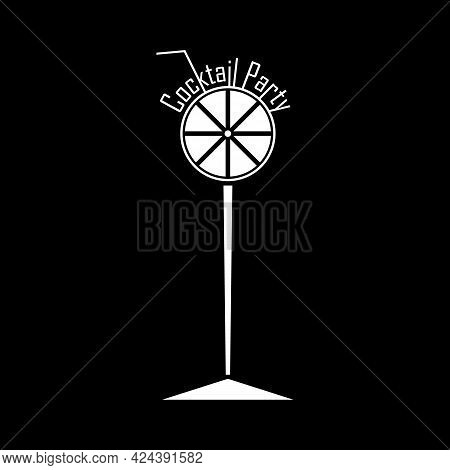 Cocktail Party Logo. Abstract Cocktail Glass Icon With Lettering Cocktail Party And Drinking Straw A