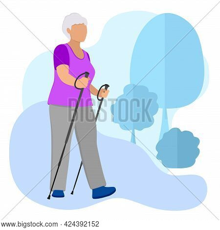 Nordic Walking Pensioner. Sports Life Of The Seniors. Old People Walk, Do Exercises In The Fresh Air