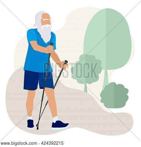 Nordic Walking Of A Retired Man. Sports Life Of The Seniors. Old People Walk, Do Exercises In The Fr