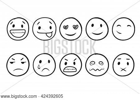 A Set Of Round Vector Faces, Different Emotions. Set Of Emoticons Cute Emoticon Linear Style.