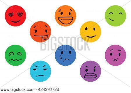 A Set Of Round Vector Faces, Different Emotions. Set Of Emoticons Cute Emoticon .