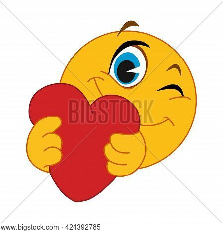 Heart Emoticon. Yellow Smiling Face Holds, Offers A Heart. White Background. Flat Vector Illustratio