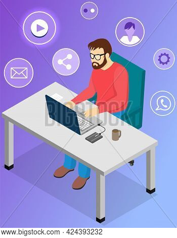 Office Worker Male Character Sitting At Table With Laptop. Businessman Or Clerk Working At His Offic
