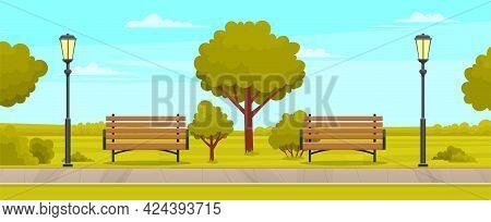 Street With Plants And Asphalt Road. Sidewalk In Summer Park. Landscape With Nature And Sidewalk. Na