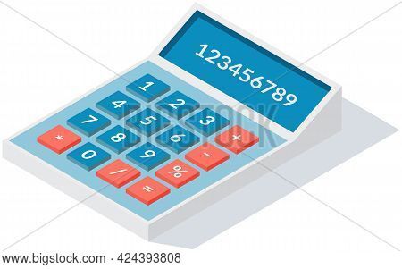Calculator Isolated On White Background. For Web Design And Application Interface, Infographics. Dev