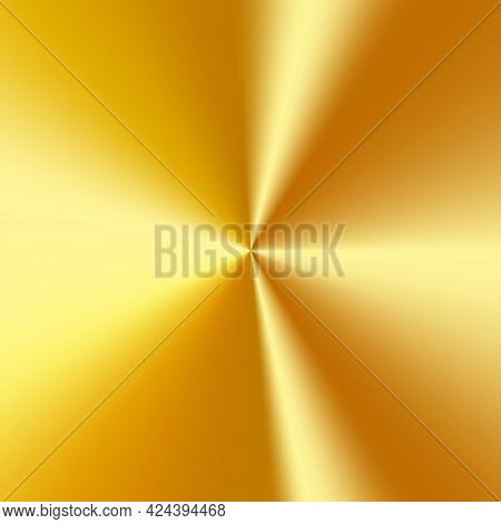 Radial Polished Texture Golden Metal Background. Vector Textured Technology Gold Color Background Wi