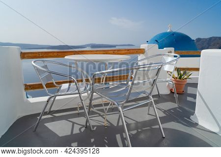 Relaxing Chairs With View Of Caldera, Santorini, Greece
