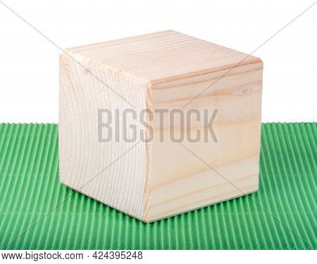 Wooden Square Brick Cubic Isolated On The White On Green
