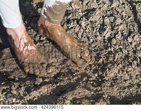 Dirty Wet Muddy Feet Of A Young Woman Outdoors On A Sunny Summer Day