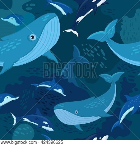 Marine Life Seamless Pattern. Blue Whales And Dolphins.