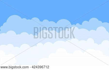 Clouds In The Sky. Vector Background. Bright Design For Poster, Cover, Banner In Cartoon Style. Whit