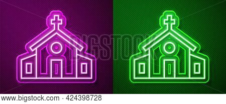 Glowing Neon Line Church Building Icon Isolated On Purple And Green Background. Christian Church. Re