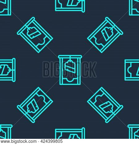 Green Line Guillotine Medieval Execution Icon Isolated Seamless Pattern On Blue Background. Vector