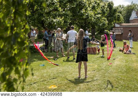 Auning, Denmark - 19 June 2021: 18th Century Day At Gammel Estrup Castle, People Are Dressed As In T