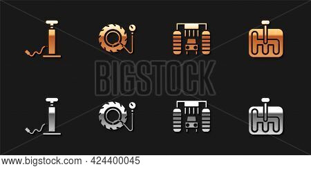 Set Car Air Pump, Tire Pressure Gauge, Wash And Gear Shifter Icon. Vector