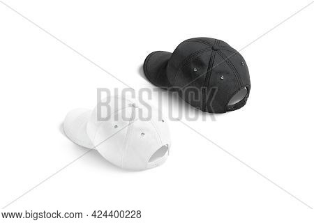 Blank Black And White Baseball Cap Mockup, Back View, 3d Rendering. Empty Denim Headwear With Clasp