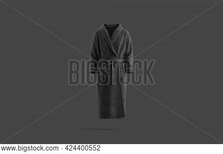 Blank Black Hotel Bathrobe Mock Up, Dark Background, 3d Rendering. Empty Cotton Banyan For Shower Mo
