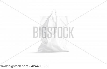 Blank White Full Loop Handle Plastic Bag Mockup, Front View, 3d Rendering. Empty Carrier Parcel With