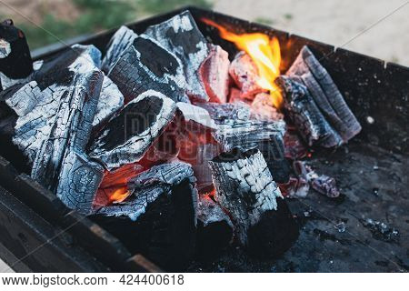 Smouldering Coals. Fire. Brazier With Beautiful Coals. Burning Coals Background. The Fire. Caster. P