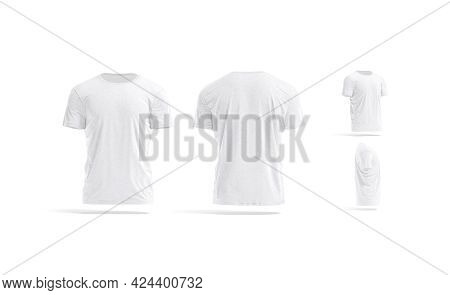 Blank White Wrinkled T-shirt Mock Up, Different Views, 3d Rendering. Empty Classic Undervest Tshirt