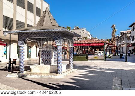 Kusadasi, Turkey - June 2, 2021: This Is The Fountain On The Pedestrian Boulevard In The Downtown.