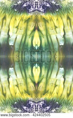 Bright Symmetric Vertical Background. Blue, Purple, Green, White And Yellow Paint. Abstract Watercol