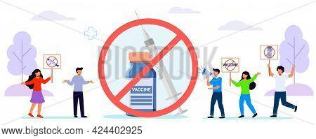 Anti Vaccination Protest Flat Vector Illustration Vaccine Refusal Mandatory Immunization Vaccination