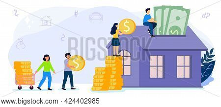 Saving To Buy A House Or Home Savings Vector Illustration Concept Planning Savings Money To Buy Home