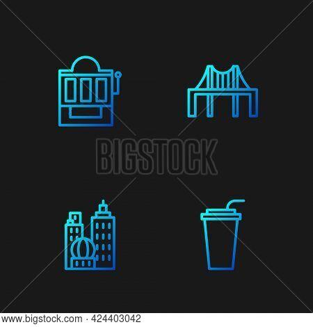 Set Line Paper Glass With Straw, City Landscape, Slot Machine And Golden Gate Bridge. Gradient Color