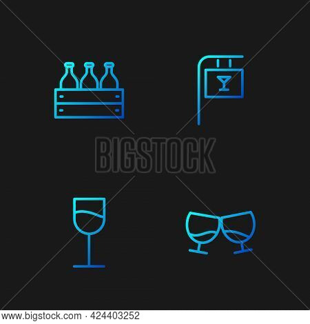 Set Line Glass Of Cognac Or Brandy, Wine Glass, Bottles Wine Wooden Box And Street Signboard With Ba