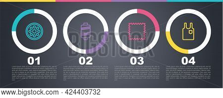 Set Line Sewing Button, Thread, Leather And Sleeveless T-shirt. Business Infographic Template. Vecto