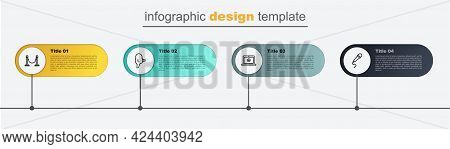 Set Line Microphone, Online Play Video, Retro Cinema Camera And Rope Barrier. Business Infographic T
