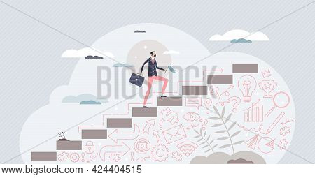 Business Success As Leader Climbing Achievement Steps Tiny Person Concept. Company Progress, Develop