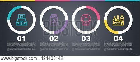 Set Line Mausoleum Of Lenin, Jar Honey, Kosovorotka And Saint Basils Cathedral. Business Infographic